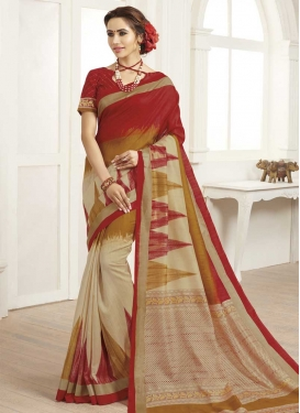 Print Work Cream and Red Trendy Saree
