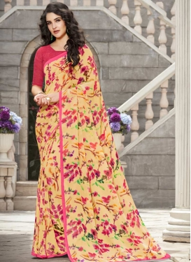 Print Work Cream and Rose Pink Contemporary Saree