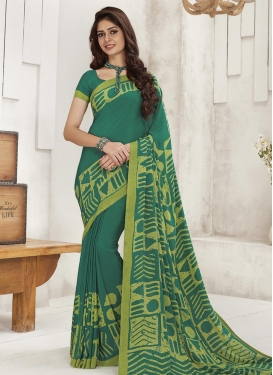 Print Work Crepe Silk Trendy Classic Saree