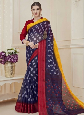 Print Work Crimson and Navy Blue Designer Contemporary Style Saree