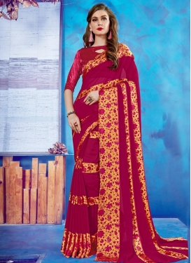 Print Work Faux Georgette Contemporary Saree