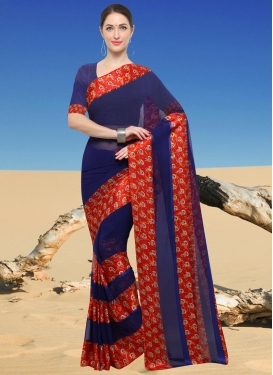 Print Work Faux Georgette Contemporary Saree For Casual