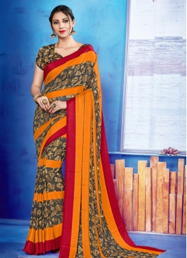 Print Work Faux Georgette Contemporary Style Saree For Casual