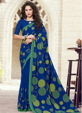 Print Work Faux Georgette Designer Contemporary Style Saree For Casual