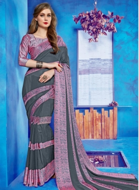 Print Work Faux Georgette Trendy Classic Saree