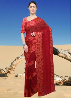 Print Work  Faux Georgette Trendy Saree