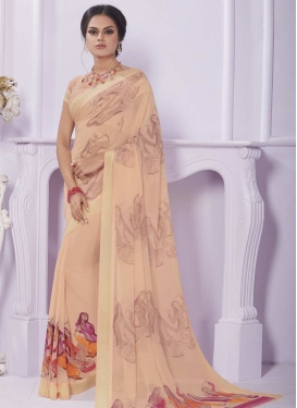 Print Work Faux Georgette Trendy Saree For Ceremonial