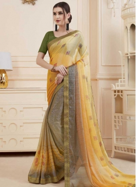 Print Work Gold and Grey Designer Contemporary Style Saree