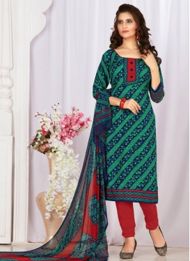 Print Work Green and Navy Blue Trendy Churidar Salwar Kameez