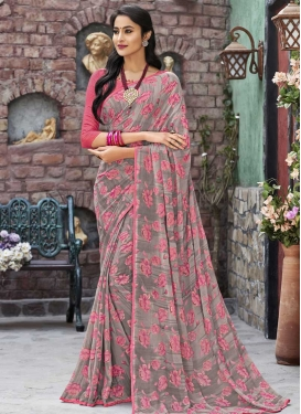 Print Work Grey and Hot Pink Traditional Saree