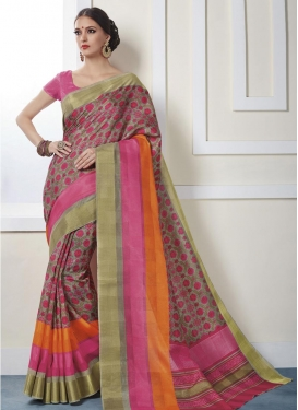 Print Work Grey and Orange Art Silk Contemporary Style Saree For Casual