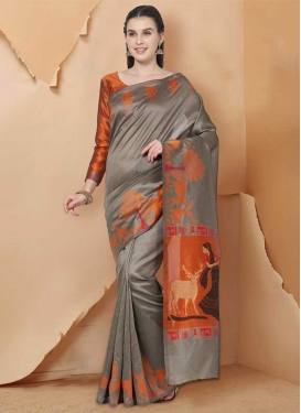 Print Work Grey and Orange Classic Saree