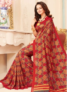 Print Work Grey and Red Trendy Classic Saree