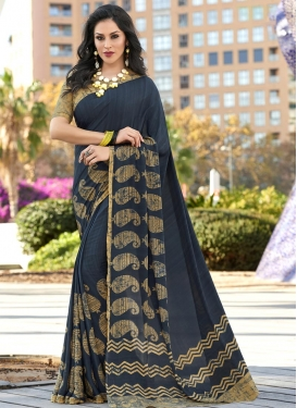 Print Work Grey and Teal Trendy Classic Saree