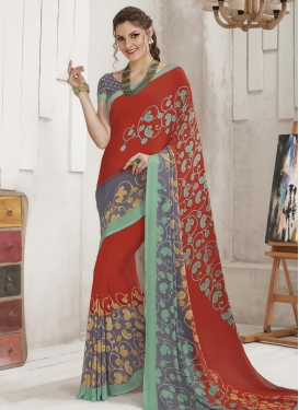 Print Work Grey and Tomato Trendy Classic Saree