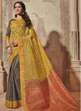 Print Work  Half N Half Trendy Saree