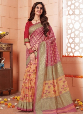 Print Work Hot Pink and Peach Half N Half Trendy Saree