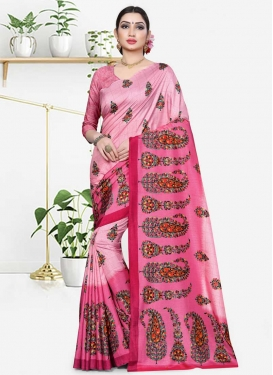 Print Work Hot Pink and Pink Traditional Designer Saree