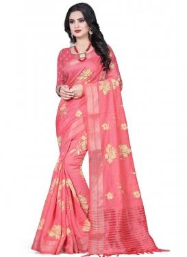Print Work Linen Traditional Designer Saree
