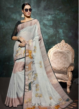 Print Work Linen Trendy Saree