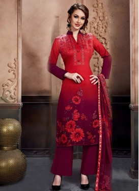 Print Work Maroon and Red Palazzo Straight Salwar Kameez