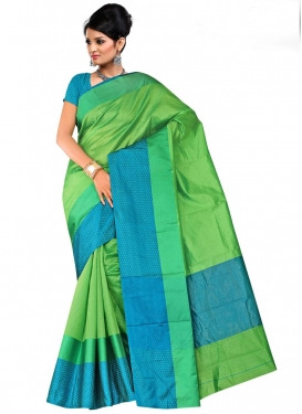 Print Work Mint Green and Teal Contemporary Style Saree