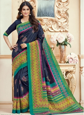 Print Work Navy Blue and Olive Classic Saree