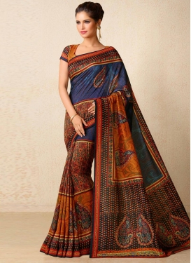 Print Work Navy Blue and Orange Contemporary Style Saree