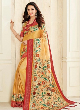 Print Work Nylon Silk Classic Saree