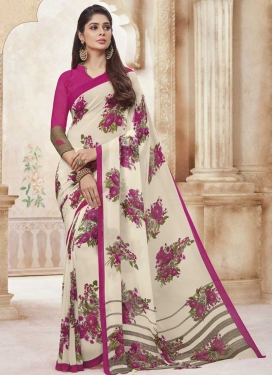 Print Work Off White and Rose Pink Classic Saree