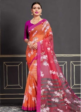 Print Work Orange and Rose Pink Trendy Saree