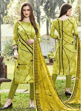 Print Work Pant Style Straight Salwar Kameez