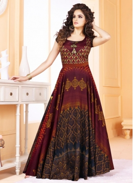 Print Work Readymade Long Length Gown