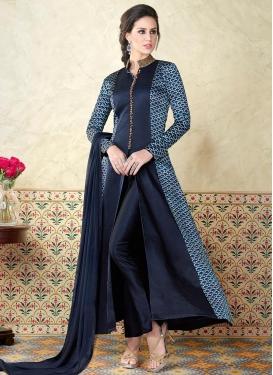 Print Work Satin Pant Style Classic Salwar Suit