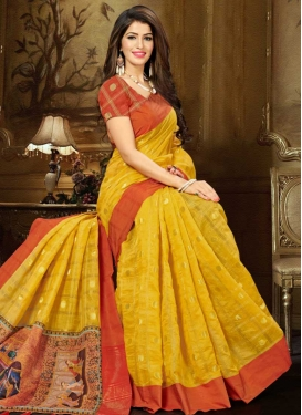 Print Work Tomato and Yellow Traditional Designer Saree