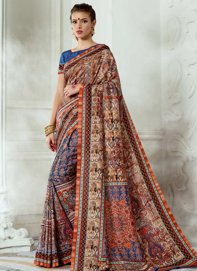 Print Work Traditional Saree For Ceremonial