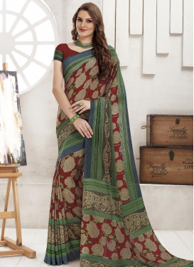 Print Work Trendy Saree For Casual