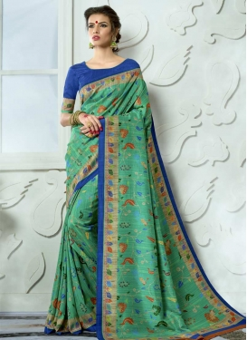 Print Work Tussar Silk Blue and Sea Green Contemporary Saree