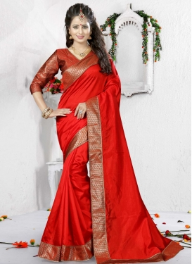 Pristine  Art Silk Lace Work Contemporary Saree