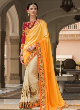 Pristine Beads Work Silk Designer Half N Half Saree For Festival