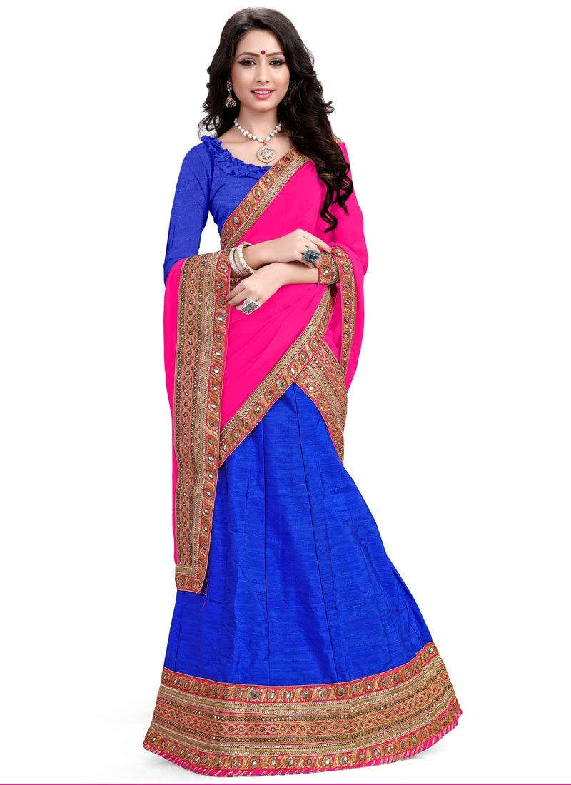 Pristine Blue Color Silk Resham Work Designer Lehenga Choli
