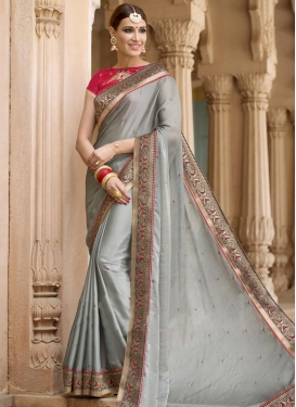 Pristine Faux Chiffon Lace Work Trendy Saree