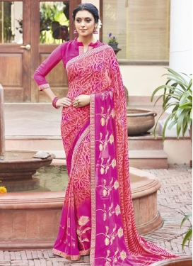 Pristine Fuchsia and Salmon Print Work Faux Georgette Contemporary Saree