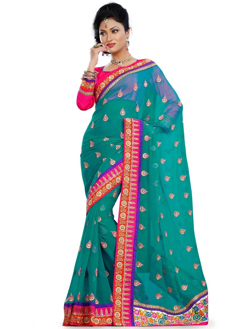 Pristine Lace Work Teal Color Designer Saree