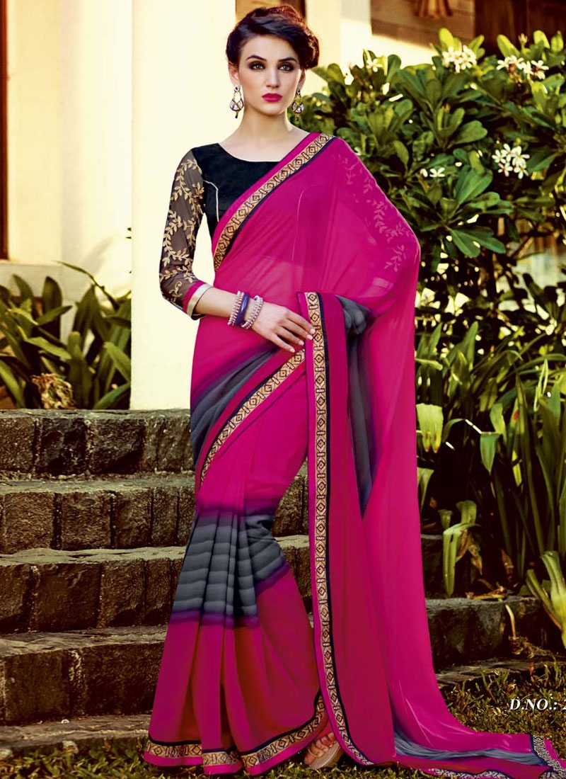 Pristine Magenta And Grey Color Casual Saree