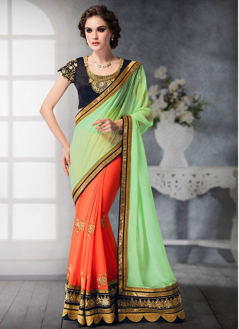 Pristine Patch Border Work Half N Half Designer Saree