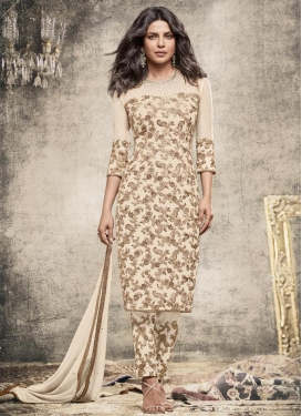 Priyanka Chopra Embroidered Work Pant Style Straight Salwar Kameez