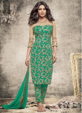 Priyanka Chopra Faux Georgette Pant Style Straight Suit