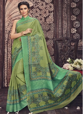Prodigious Art Silk Print Work Classic Saree For Casual