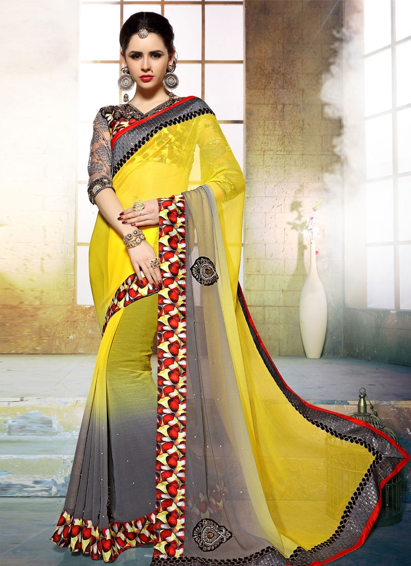 Prodigious Beads And Booti Work Party Wear Saree